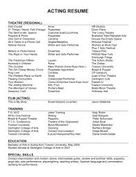 Resume Acting Template by Sle Actor Resumes Acting Resume Template Beginners No Exper