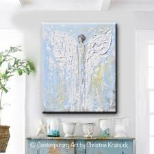 Spiritual Home Decor Canvas Print Abstract Angel Painting Blue White Angels