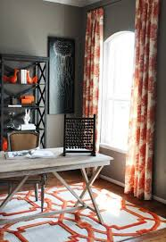 Orange And White Curtains Orange Curtains Contemporary Den Library Office Charm Home