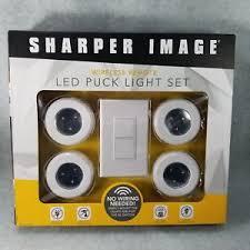 sharper image wireless remote led puck lights sharper image wireless remote led puck light set of 4 lights no