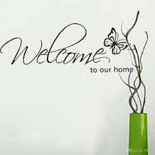 welcome to our home wall lettering stickers black cute butterfly