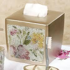 watercolor floral mosaic bath accessories