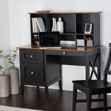 Oak Computer Desk With Hutch by Belham Living Hampton Desk With Optional Hutch Black Oak Hayneedle