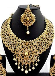 gold stone necklace images Buy geruaa golden stone necklace set with maang tikka for women jpg