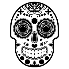 day of the dead sugar skull with ornament bright ornament thick