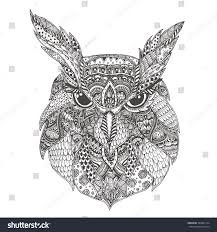 owl ethnic floral doodle pattern coloring stock vector 380365174