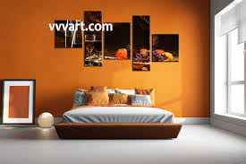 5 piece black wine fruits home decor photo canvas