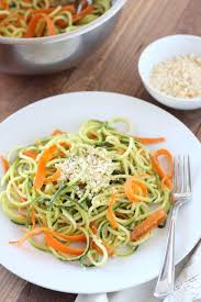 carrot and zucchini pasta with avocado cucumber sauce