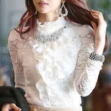 high neck ruffle collar blouse silk pintuck blouse