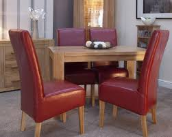 trend oak small dining table corner legs plus 4 leather chairs