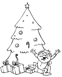 coloring pages happy boy christmas tree coloring page excited boy by xmas tree