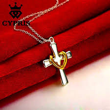 real silver necklace images Real silver plated christian cross heart pendant necklace jpg