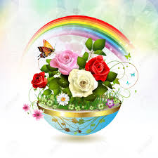 Roses And Butterflies - flowers in flowerpot with roses and butterflies royalty free