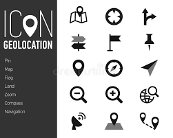 map icons and location icons with white background stock vector
