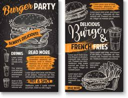 fast food restaurant poster set for burgers and pizza snacks
