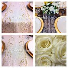 Gold Lace Table Runner Christmas Lace Table Runner White Gold 5ft 10ft X 8in Wide Gold