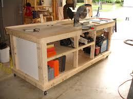 workbench with inset areas for miter table saw diy projects