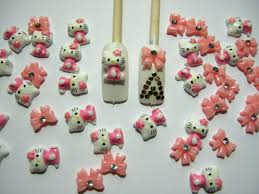 amazon com nail art 3d 40 pieces mix pink hello kitty bow for