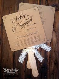 wedding program fan kits items similar to wedding program fans kraft and lace