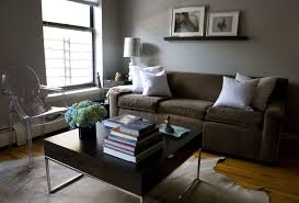 wall tables for living room living room brown fabric sofa grey wall square wood coffee table