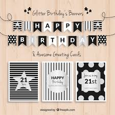 birthday banners and cards black and silver vector free download