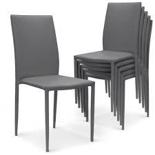chaise simili cuir gris lot de 6 chaises modan tissu enduit gris