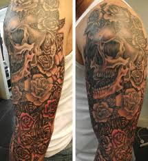 cool skull and waves tattoos on sleeve in 2017 photo