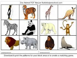 zoo animal printables for block corner matching game nuttin but