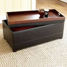Ottoman Leather Storage Leather Storage Ottoman With Tray Foter