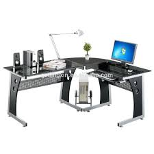 Corner Glass Computer Desk Pc Table Black White Glass New L Shape