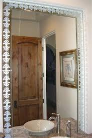 fancy bathroom mirrors etched bathroom mirrors fancy palm border decorative mirror with