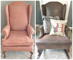 Wingback Rocking Chair Fawn Over Baby Diy Rustic Reupholstered Wing Back Rocker