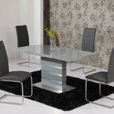 Extended Dining Table Sets Parini Extendable Dining Table Rectangular In Grey Gloss