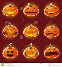 Happy Halloween Icons Halloween Pumpkin Character Emoticon Icons Stock Vector Image