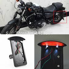 motorcycle license plate frame with led brake light led smoke axle side mount license plate bracket frame holder tail