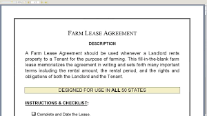 land lease agreement template farm lease agreement