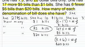 algebra 1 help solving money word problems 1 2 youtube