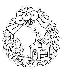 wreath winter coloring pages kids printable free thread
