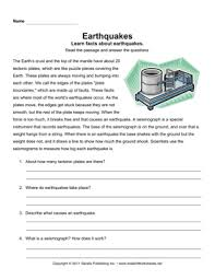 earthquake comprehension u2014 instant worksheets