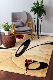 Modern Large Rugs Avalon 0529 Beige Burgundy 5x7 Black Area Rugs Carpet