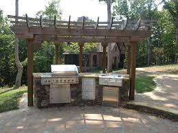 simple vintage outdoor kitchen patio designs using stone kitchen