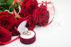 red rose rings images Romantic red roses with wedding rings valentine day background jpg