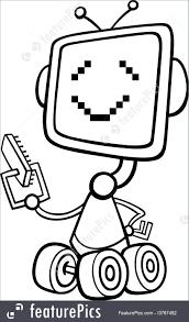 robot cartoon coloring illustration