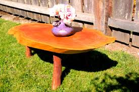 oval cedar coffee table with madrone legs orcas workshop