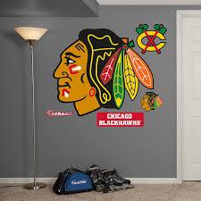 amazon com nhl chicago blackhawks logo fathead wall decal real amazon com nhl chicago blackhawks logo fathead wall decal real big sports outdoors