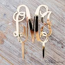 gold monogram cake toppers decor acrylic gold monogram mirror cake topper 2413362 weddbook