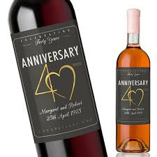anniversary wine bottles 40th wedding anniversary gift custom anniversary wine label for
