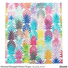 hawaiian pineapple pattern tropical watercolor shower curtain