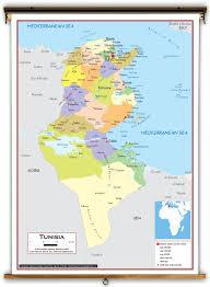 tunisia map tunisia political educational wall map from academia maps