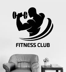 vinyl wall decal fitness club logo gym bodybuilding sports decor
